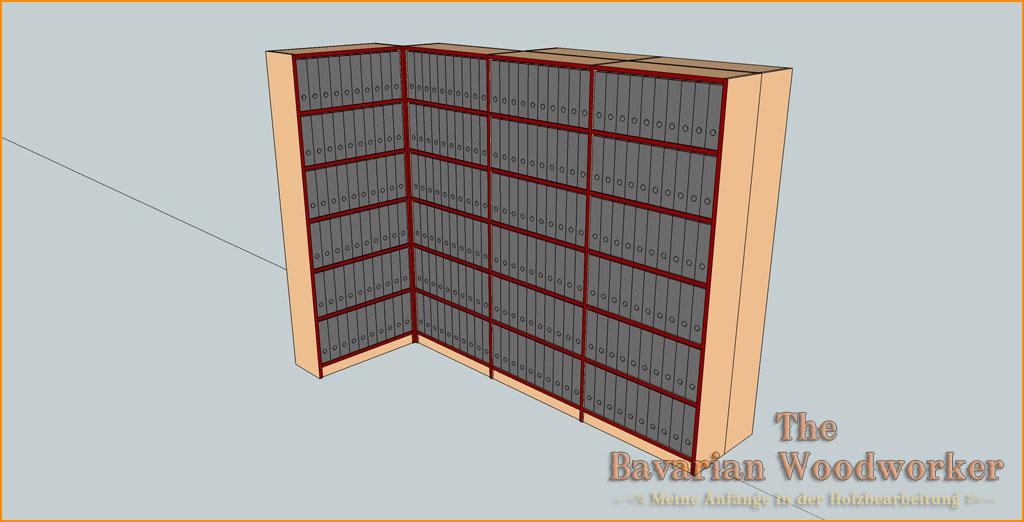 ordnerregal f r 360 leitz ordner the bavarian woodworker. Black Bedroom Furniture Sets. Home Design Ideas